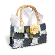 Denim and Posies Scalloped Square Purse