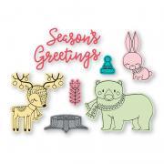 Sizzix Framelits Die Set 8PK w/Stamps - Folk Christmas