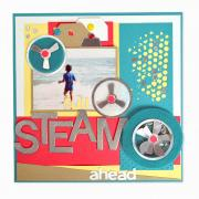 Full Steam Ahead Scrapbook Page