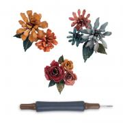 Sizzix Thinlits Die Set 15PK w/Quilling Tool - Tiny Tattered Florals