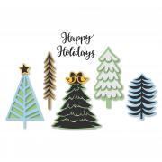 Sizzix Framelits Die Set 9PK w/Stamps - Winter Trees