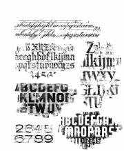 Stampers Anonymous Cling Mount Stamps - Faded Type by Tim Holtz