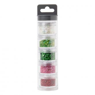 Sizzix Making Essential - Sequins & Beads, Festive, 5g per Pot, 5PK