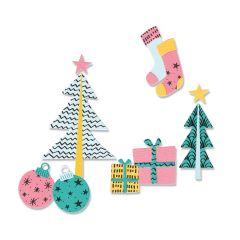 Sizzix Framelits Die Set 12PK w/Stamps - Groovy Christmas