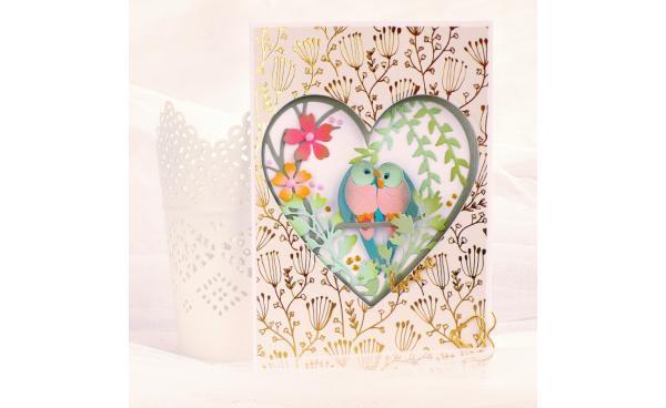 Card Love Birds Shadow Box - VIDEO