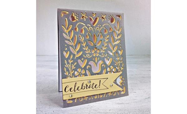 See-Through Die Cut Card with Folk Art Stencil