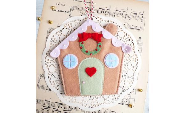 Felt Gingerbread House Decoration for Christmas