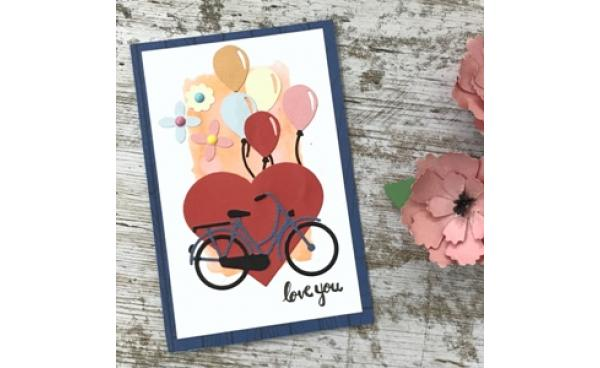 Balloons and bicycle love card