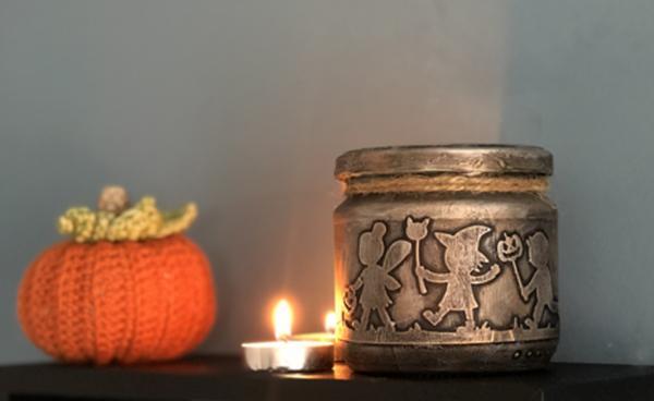 Spooky Halloween Silhouette Jar